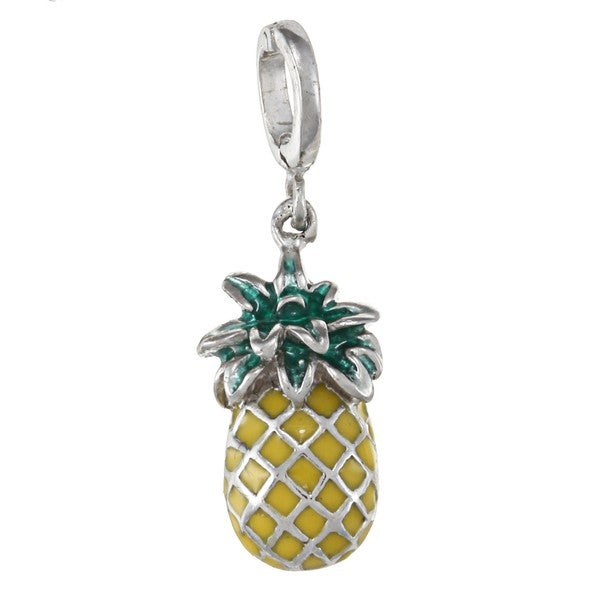 La Preciosa Sterling Silver Yellow and Green Enamel Pineapple Charm 8872388