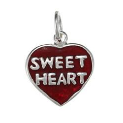 La Preciosa Sterling Silver Red Enamel 'Sweet Heart' Heart Charm
