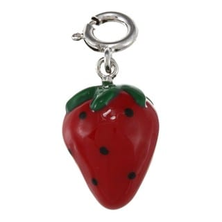 La Preciosa Sterling Silver Green and Red Enamel Strawberry Charm
