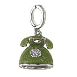 La Preciosa Sterling Silver Green Enamel Rotary Phone Charm
