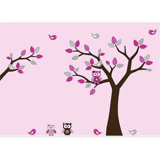Nursery Wall Art Tree Decal Set with Branch, Birds, and Owls