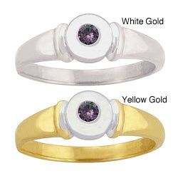 10k Gold Round-cut Synthetic Alexandrite Contemporary Ring