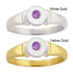 10k Gold Synthetic Amethyst Contemporary Ring