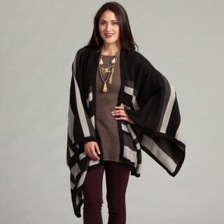 Calvin Klein Women's Colorblocked Striped Ruana Wrap