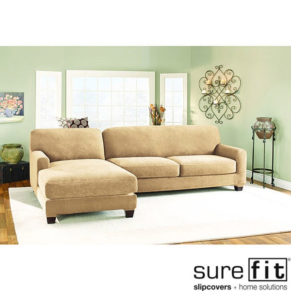 Sure Fit Pique Cream Sectional with Left-hand Chase Slipcover