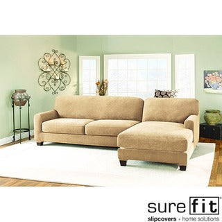 Sure Fit Pique Cream Sectional with Chase Right-hand Slipcover