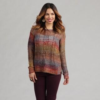 Kensie Women's Open Work Slit Striped Sweater