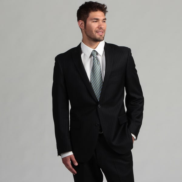Kenneth Cole New York Men's Slim Fit Dark Navy Striped Wool Suit