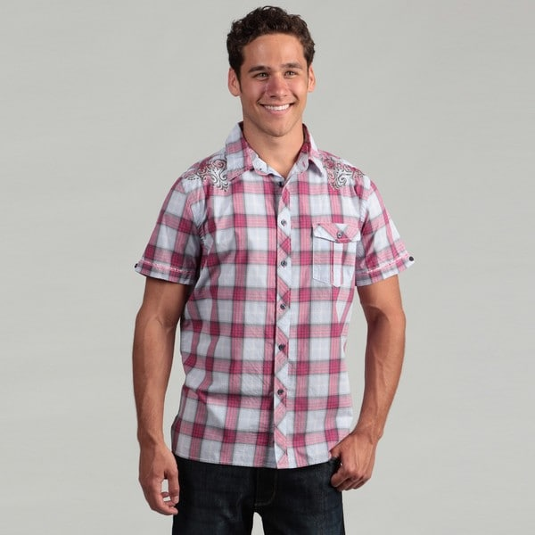 Vintage Red Men's Embroidered Plaid Shirt