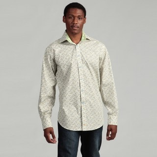 Thomas Dean Men's Green Floral Woven Shirt