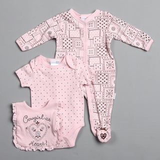 Vitamins Baby Newborn Girl's Patchwork Cowgirl 3-piece Footed Coverall Set
