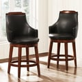 Elche 24-inch Walnut Swivel Chairs (Set of 2)