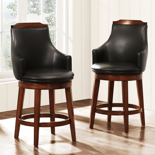 TRIBECCA HOME Elche 24-inch Walnut Swivel Chairs (Set of 2)