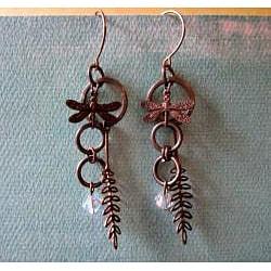 Vintage Fern/Dragonfly Earrings