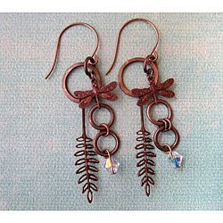 Vintage Fern/Dragonfly Earrings
