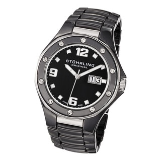 Stuhrling Original Men's Apocalypse Noir Swiss Made Black Quartz Ceramic Watch