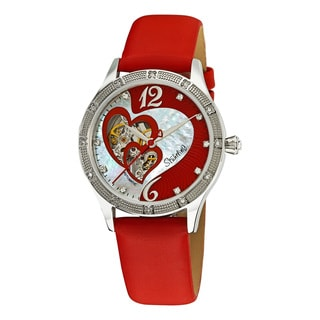Stuhrling Original Women's Harmony Automatic Skeleton Crystal Mother of Pearl Red Watch