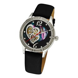 Stuhrling Original Women's Harmony Automatic Skeleton Crystal Mother of Pearl Black Watch