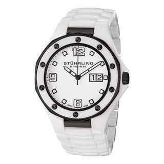 Stuhrling Original Men's Apocalypse Noir Swiss Made White Quartz Ceramic Watch