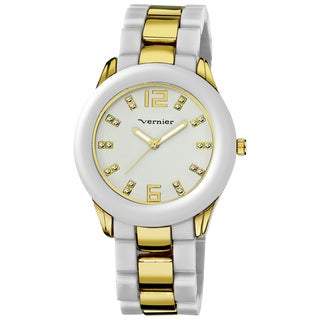 Vernier Women's V11085 Series Two-tone White Resin Watch
