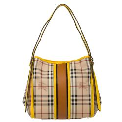 Burberry Small Canvas Check Tote Bag