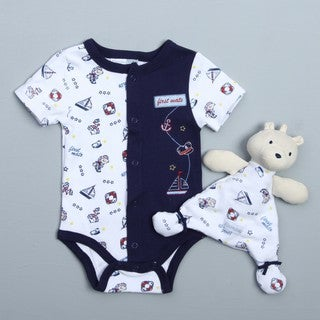 Vitamins Baby Newborn Boy's 2-piece Bear Sailor Creeper