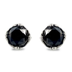 Stainless Steel Black Cubic Zirconia Tribal Vine Stud Earrings