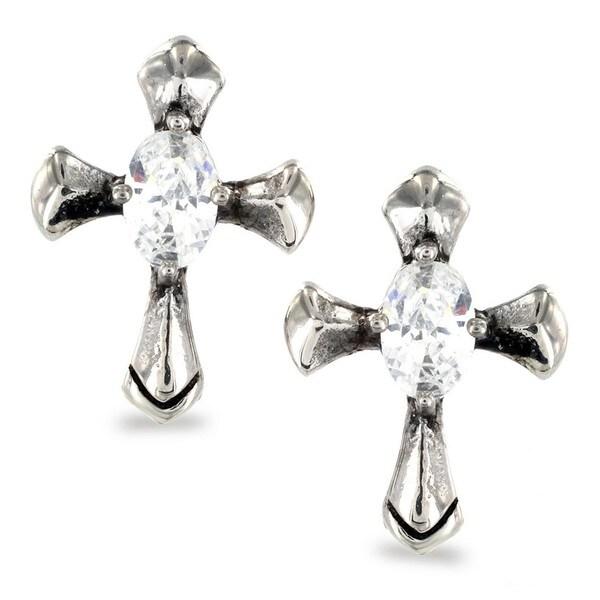 Stainless Steel Oval Cubic Zirconia Celtic Cross Earrings