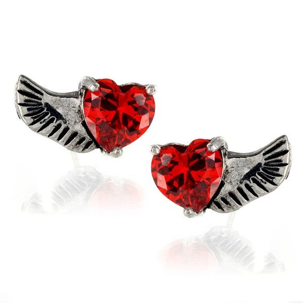 Stainless Steel Red Heart Cubic Zirconia Angel Wing Stud Earrings