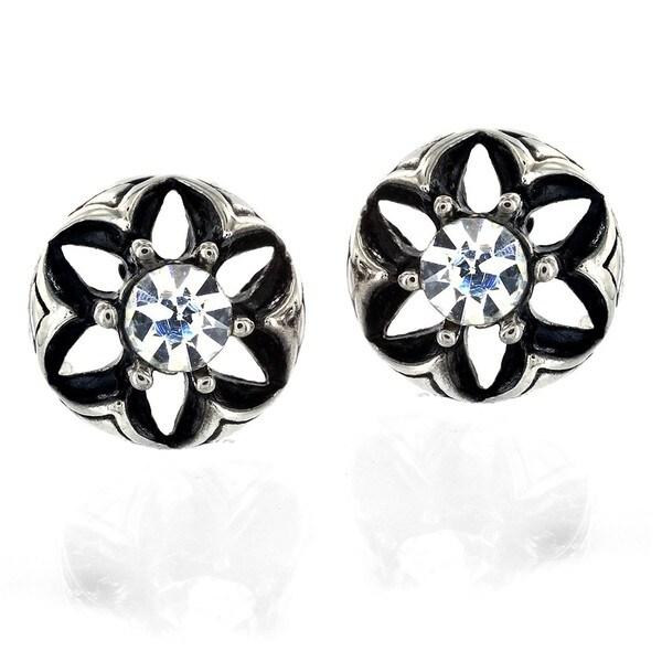 Stainless Steel Cubic Zirconia Domed Flower Stud Earrings