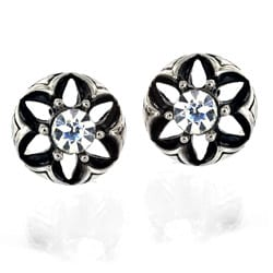 Stainless Steel Cubic Zirconia Domed Flower Stud Earrings