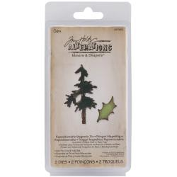 Sizzix Movers & Shapers Magnetic Dies By Tim Holtz-Mini Pine Tree & Holly
