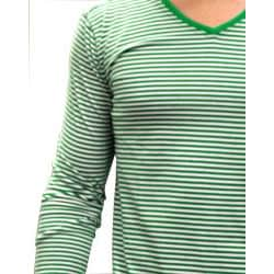 Something Strong Men's Green/ Cream Striped V-neck Tee