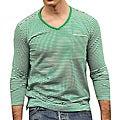 Something Strong Men's Green/ Cream Striped V-neck Tee