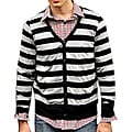 Something Strong Men's Black/ Grey Stripe Cardigan