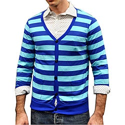 Something Strong Men's Blue Striped Cardigan