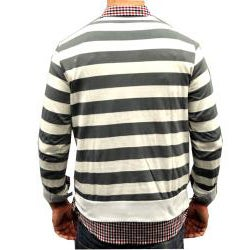 Something Strong Men's Egg/ Grey Striped Cardigan