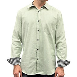 Something Strong Men's Green Stripe Collared Shirt