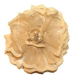Women's Ivory Lace Flower Magnetic Brooch