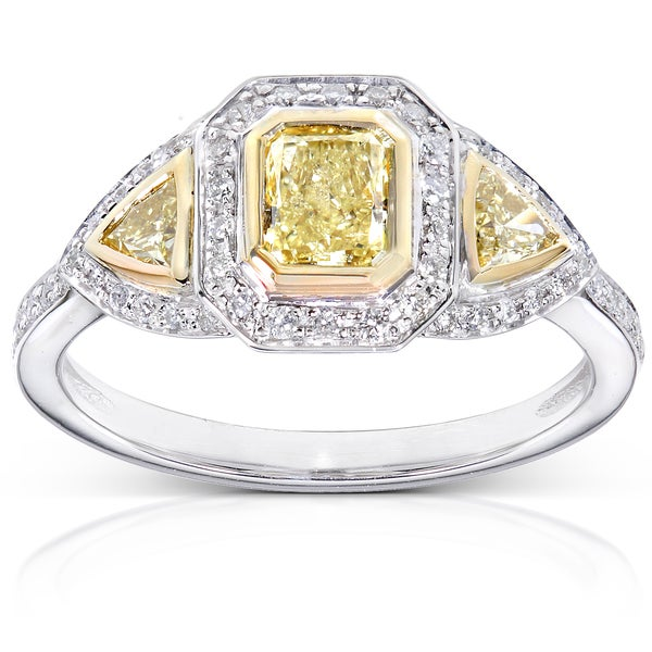 Annello 14k Gold 1ct TDW Certified Yellow and White Diamond Ring (H-I, SI2-I1)