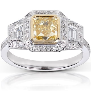 Annello 14k Gold 2 1/4ct TDW Certified Yellow Radiant Cut Diamond Ring (G-H, VS1-VS2)