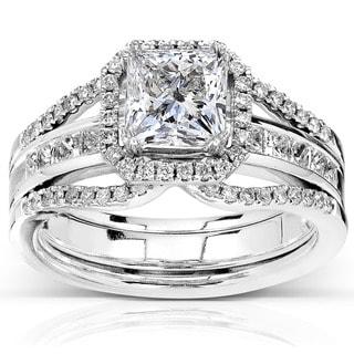 Annello 14k Gold 1 7/8ct TDW Ceritifed Princess Cut Diamond Bridal Ring Set (I, SI2)