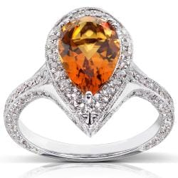 18k White Gold Citrine and 1ct TDW Diamond Ring (G-H, VS1-VS2)