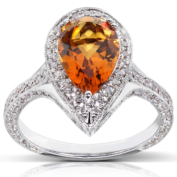 Annello 18k White Gold Citrine and 1ct TDW Diamond Ring (G-H, VS1-VS2)
