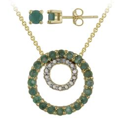 Glitzy Rocks Gold over Silver Emerald and Diamond Accent Jewelry Set