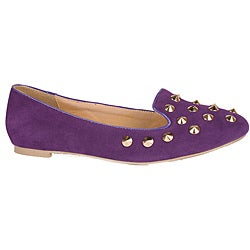 Neway by Beston Women's Purple Studded Smoking Flats