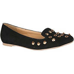 Neway by Beston Women's Black Studded Smoking Flats