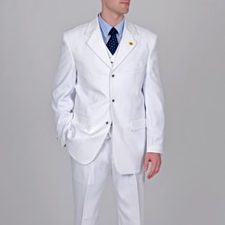 Stacy Adams Men's White 3-piece Suit