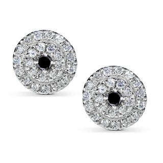 Annello 14k White Gold 1/2ct TDW Black and White Diamond Earrings (H-I, I1-I2)