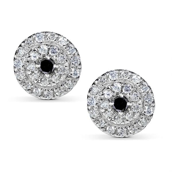 Annello 14k White Gold 1/2ct TDW Black and White Diamond Earrings (H-I, I1-I2)